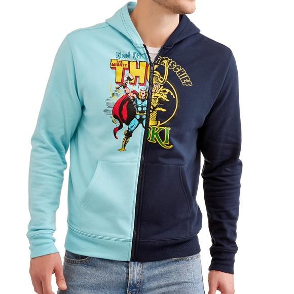6df2707c3f905d Marvel Shirts | Thor Loki Split Zip Up Hooded Sweatshirt | Poshmark